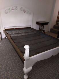 REDUCED 1920s/30s pretty painted double bed frame with original metal coil spring base