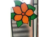 Stained Glass Hanging Art Leaded Orange and Green flower Daisy Flower 7 inches in length Sun Catcher