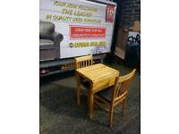 Drop leaf oak table and 2 chairs with leather seats
