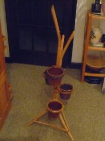 Retro Cane, Bamboo Plant Stand. Displays Four Plants.
