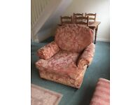 Sofa, chair and matching footstool