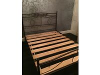 "Double bed frame 4'6"", straight wooden slats, bronze metal frame only £20 pick up only"