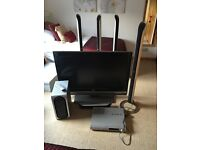 """43 """" LG TELEVISION, SURROUND SOUND SPEAKER SYSTEM AND DVD PLAYER"""