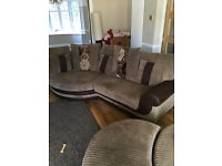 Cosy corner sofa and double cuddle chair with stool