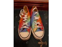 Multi colour Genuine Converse size 5 red yellow green purple as new low canvas trainers