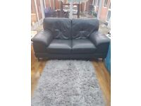 Grey leather 2 seater