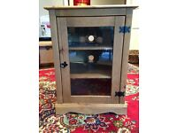 TV HI FI Cabinet with glazed front, solid wood