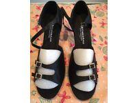 Black satin size 8/42 woman's Latin sandals with diamanté buckles