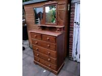£140 solid heavy chunky pine chest of drawers Dresser