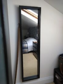 Full length mirror with black wooden frame