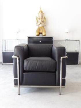 Cassina Le Corbusier Lc2 Sessel Leder Schwarz Chrom Top In