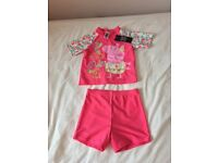 BRAND NEW PEPPA PIG SUN PROTECTION SWIM TOP & SHORTS AGE 4-5