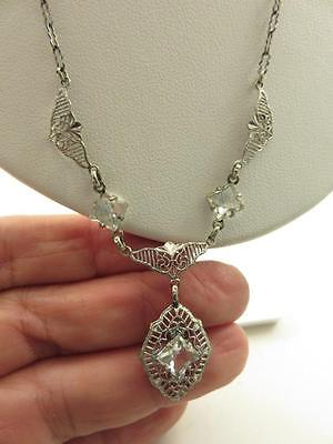 RHODIUM PLATED FILIGREE CRYSTAL LAVALIERE PENDANT NECKLACE PAPER CLIP CHAIN