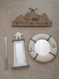 Seaside beach bathroom accessories shabby chic rustic pictures decorative items