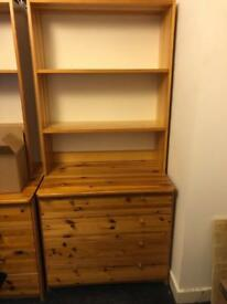 Real Wood Chest 4 Drawers and book shelf