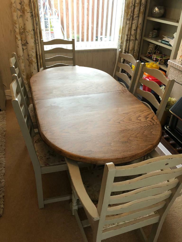 Solid Oak Shabby Chic Dining Table Chairs Middlesbrough North Yorkshire