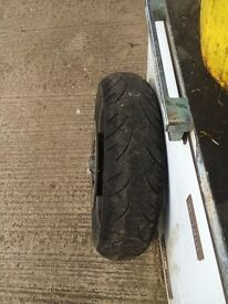 ST1100 Pan European complete rear wheel with worn tyre