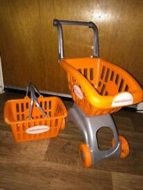 Child's shopping trolley and basket