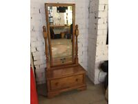 Cheval mirror, solid wood. Drawer at bottom.
