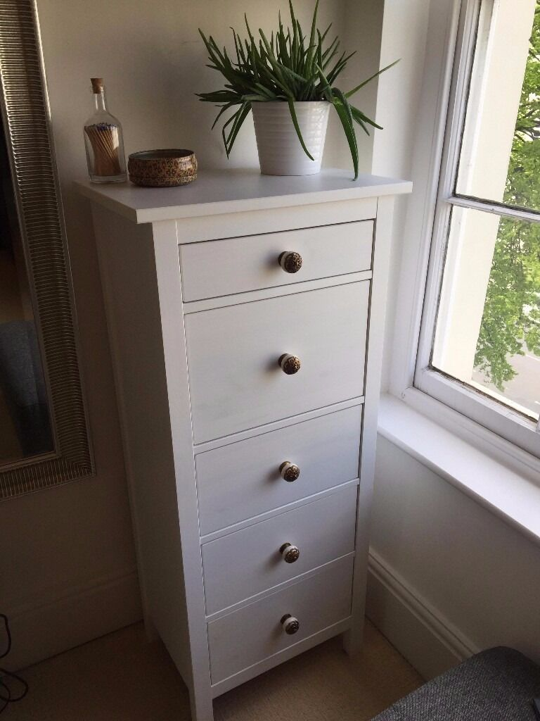 White Stain Ikea Hemnes High Chest 5 Drawers Updated