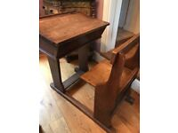 Antique Wooden School Desk with attached chair