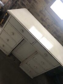 refurbished vintage white desk, sold as seen, distressed,