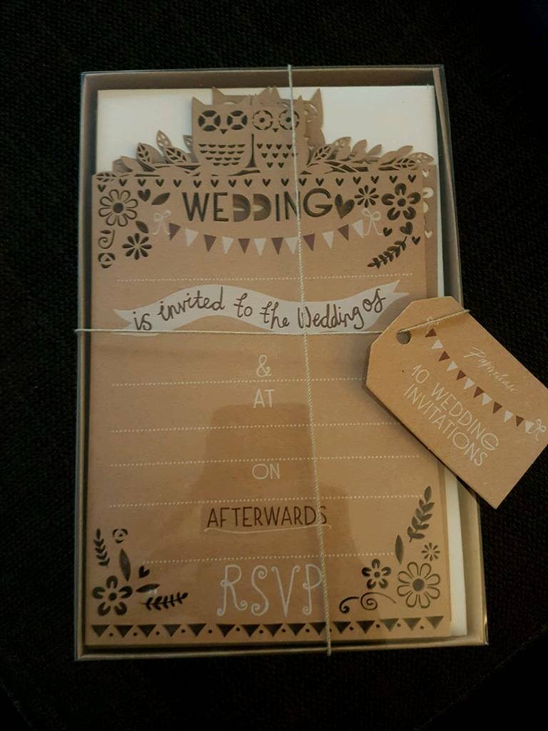 Paperchase Woodland Rustic Vintage Wedding Invitations x 10 | in ...