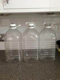 3 LARGE PLASTIC DEMIJOHNS