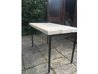Hand made table from reclaimed wood double thick scaffold planks vintage metal school table legs