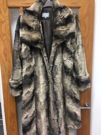 Long Line Fur Coat by Per Una - Size L - Great Condition, Excellent for the Winter