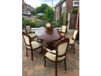 Italian style family dinning table with 6 chairs