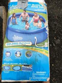 10ft Self Inflating Garden Pool - with cover and solar water heater