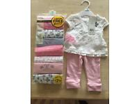 Baby girl vests and outfit 0-3 months