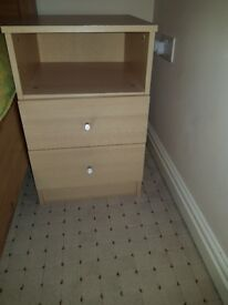 Bedside table, chest of drawers and bookcase