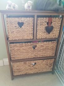 Dark Wood Storage Units with Willow Baskets