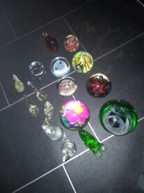 Assorted glass paper weights etc