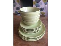 Green Ikea plates, side plates and bowls set