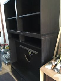 Ikea TV Unit with drawers and bookcase above