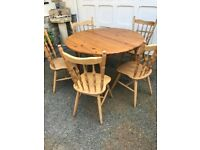 6 piece quality solid wood seasoned extendable table.
