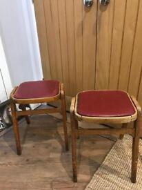 REDUCED Pair of Retro Wooden Kitchen Stools