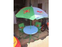 Kids outdoor table and chair set, with mini parasol umbrella