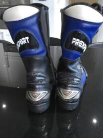 Blue and black leather motorbike boots (Prexport)