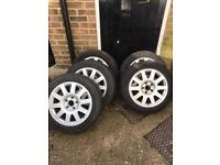 """Audi alloys wheels 16"""" x5 two tyre are ok rest are no good"""