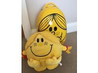 Little Miss Sunshine hand luggage suitcase and large plush toy