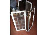 Antique fully glazed cast iron windows & frames-matching pair-15 leaded panes per window-£10 the 2