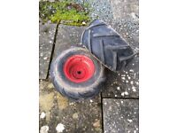 Chevron tyres for countax mower C600 H. Good tread, metal rims, tubes. Used but good condition