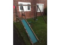 Wooden swing + slide set. Buyer also have option to have 2 other swings for free.