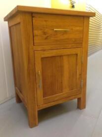Solid oiled oak Brooklyn bedside cabinet lamp table cupboard Laura Ashley habitat loaf John Lewis