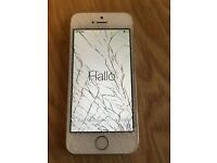 iPhone 5s, 3 network, cracked screen - w/box and unused EarPods.