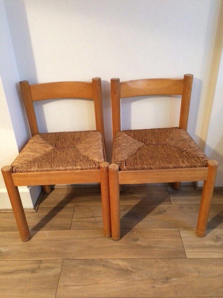 Poole BH15 Pair of dining chairs rush seat vintage Habitat Vico Magistretti
